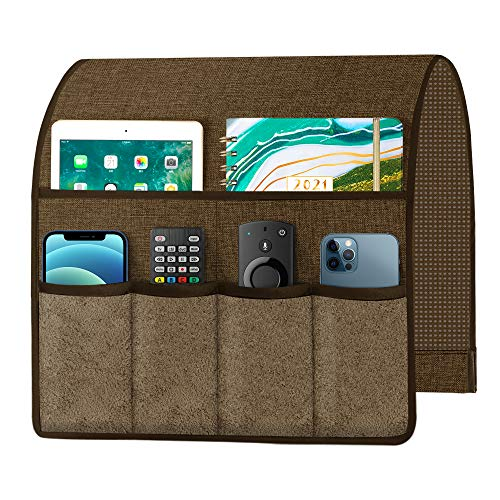 Joywell Sofa Armrest Organizer with 6 Velvet Pockets Remote Holder on Couch amp Chair Arm for TV Remote Control Magazine Books Cell Phone iPad Chocolate