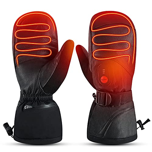 day wolf Heated Gloves Men Women Heated Mittens Ski,7.4V 2200MAH Electric Rechargeable Battery Gloves for Winter Skiing Skating Snow Camping Hiking Heated Hand Warmer Glove