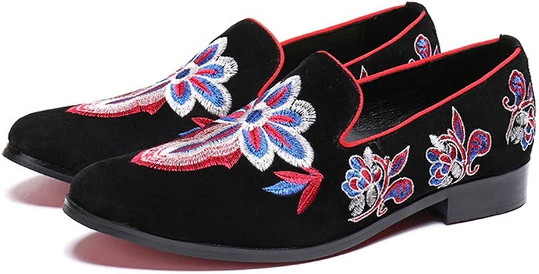 Rui Landed Oxford Für Mann Formelle Schuhe Slip On Style Hochwertiges Echtes Leder Freihand Sticken Skizzieren Trendy Low Top Nachtclub (Farbe   Schwarz, Gre   42 EU)