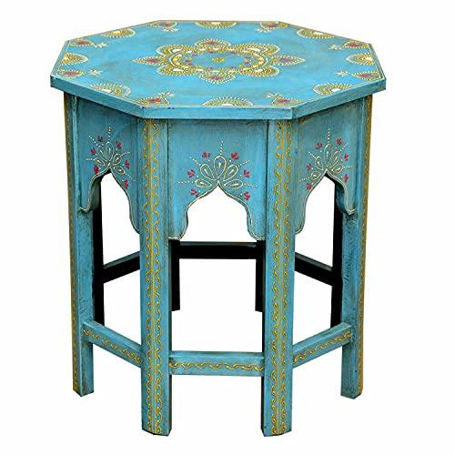 Casa Moro Orientalischer Beistelltisch Saada Blau M Höhe 37 Ø 29 cm aus Massiv-Holz handbemalt   Kunsthandwerk   Vintage Blumentisch Shabby Chic Tisch klein   MA32-47-C-M