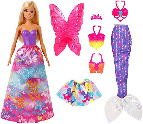 ?Barbie Dreamtopia Dress Up Doll Gift Set, 12.5-Inch, Blonde with Princess, Fairy and Mermaid Costumes, Gift for 3 to 7 Year Olds