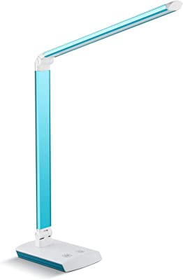 DECKEY 10W LED Lámpara de Escritorio Lámpara de Mesa Lámpara de Mesa Regulable Lámpara de Oficina Giratoria Lámpara de Lectura Lámpara de Libro Lámpara de Trabajo 60 LED (Azul)