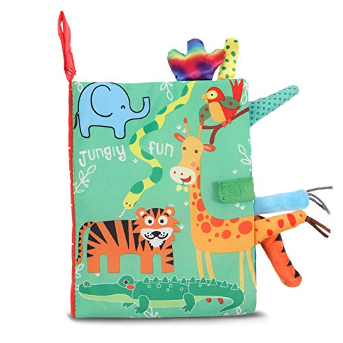 SOSPIRO Baby Cloth Books Quiet Book for Toddlers Soft Baby Books with 3D Animal Tails Safe Nontoxic Early Learning Babies First Books Gifts for 0-3 Year Old Toddlers(Jungle)