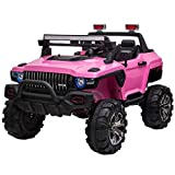 Aosom 12V Kids Electric 2-Seater Ride On Police Car SUV Truck Toy with Parental Remote Control, Pink