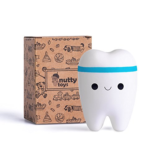 NUTTY TOYS Super Slow Rising Jumbo Squishy Tooth - Soft & Scented Kawaii - Stress Relief for Boys, Girls, Adults, Top Valentines Day Gift Idea, Best Birthday Present for Kids, Tweens & Teens 2021