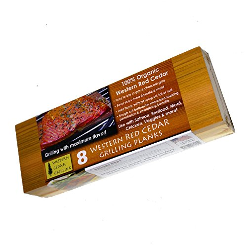 10 Cedar Grilling Planks (8 Extra Long + 2 Bonus Short Planks!) - Perfect for Salmon, Fish, Steak, Veggies and More. Made in USA! Re-use Several Times. Fast Soaking.