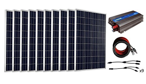 ECO-WORTHY On Grid Tie 300w to 1KW Solarpanel System Complete Kits: 100W Solarmodule 12V + MPPT Funtion Grid Tie Inverter + Solar Cable + MC4 Branch Connectors (1000w)