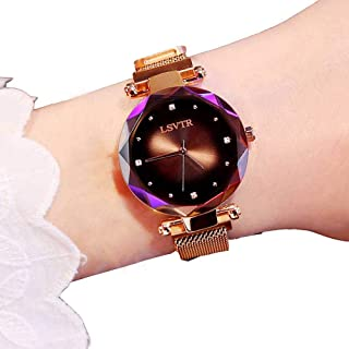 PAWACA Fashion Analogue Quartz Ladies Watches, Women's Waterproof Star Dial Wrist Watch with Magnetic Mesh Band, Best Gift for Female Friend