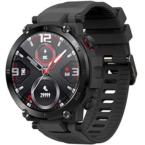 O'woda Smartwatch, Fitness Armbanduhr mit Pulsuhr Schlaftracker, 1.3' Voller Touchscreen Sportuhr Smart Watch,wasserdichter Fitness Tracker SoP2-Monitor für Damen/Herren/Kinder/Android iOS,Schwarz
