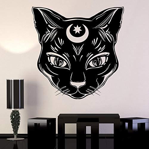LLLYZZ Zwarte kat maan heks magie hekwerk vinyl wandtattoo wooncultuur slaapkamer kunst verwijderbare muursticker 58 * 58 cm