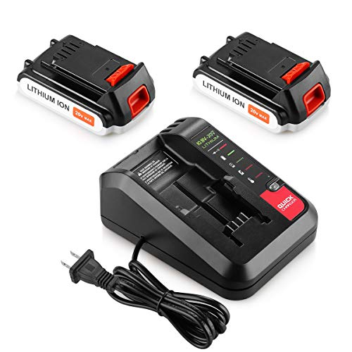 Energup 2 Pack LBXR20 Battery 2.5Ah Replace for Black and Decker 20V MAX Lithium Battery + 20V Charger for Black Decker 20V MAX Lithium Battery