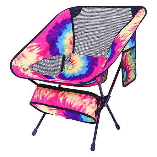 KABOER Outdoor Portable Camping Chair, Folding Lightweight Backpacking Camping Chair, Heavy Duty Compact Camp Chair for Outdoor Camping, Hiking, Fishing, Picnic, BBQ, Beach(Tie dye)