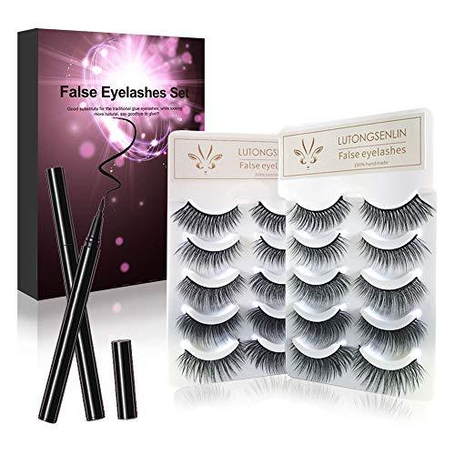 False Eyelashes and Self Adhesive Eyeliner kit,a Liquid Eyeliner and 10 Pairs of Non Magnetic Lashes No Glue Needed