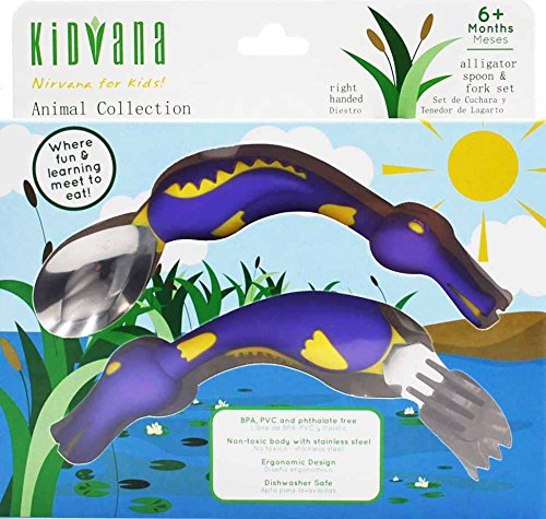 Fork and Spoon Cutlery Set for Children and Toddlers with Ergonomic Design - Purple Alligator Animal Collection. BPA Free nontoxic Stainless Steel. Fun and Safe Utensil for Kids.