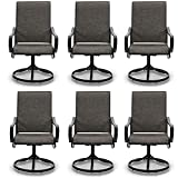 PHI VILLA Patio Swivel Dining Chairs Set of 6 Outdoor...