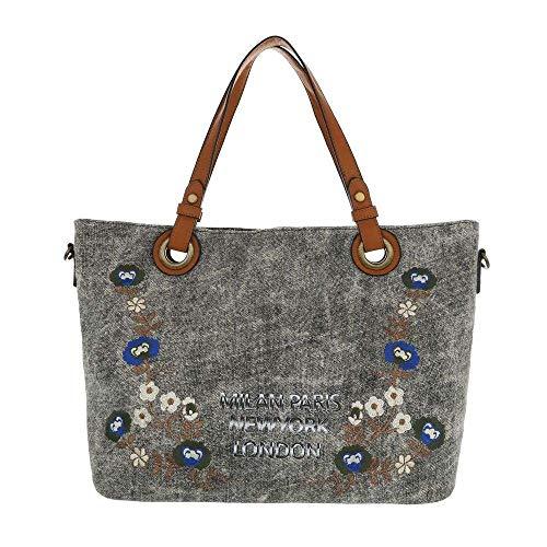 Dudlin Stylische Damen Schultertasche, Handtasche, Shopperbag in hochwertiger Textiloptik (Blumen/Städte) (black)