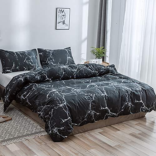 Luofanfei Bettwäsche Marmor Optik Baumwolle Schwarz 2 Teilig 135x200 Bettbezug Einzelbett mit Reißverschluss Zweiseitig Gedruckt (DLS-SY, 135 x 200 cm 80 x 80 cm)