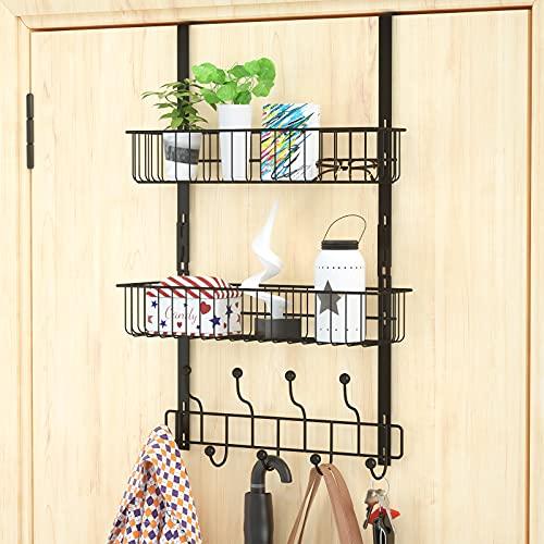 HapiRm Coat Hook Hanger, Over The Door Hanger Organizer with 2 Baskets and 9 Hooks for Bathroom, Bedroom, Kitchen, Easy Installation No Need Screws, Black