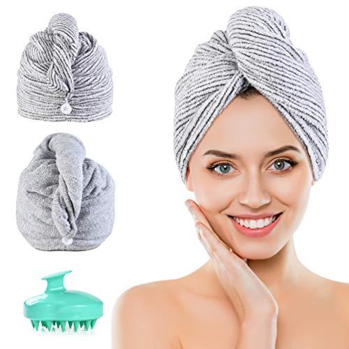 PRETTY SEE Haarturban,2 Stück Mikrofaser Turban Handtuch Bambuskohlefaser mit Knopf,Haartrockentuch Schnelltrocknend Saugfähig für Alle Haartypen,1 Kopfhaut Massage...