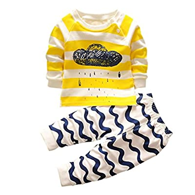 Bokeley 2Pcs Newborn Toddler Infant Kids Baby Boys Girls Cloud Print Striped T-Shirt Tops + Pants Clothes Outfits Set