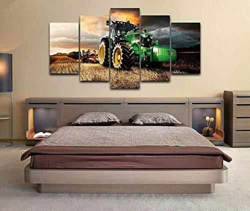 DBFHC Cuadros Modernos Impresión De Imagen Artística Digitalizada John DEE Tractor Cortacésped Agricultura Lienzo Decorativo para Salón O Dormitorio 5 Piezas XXL