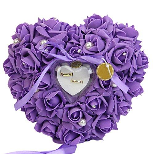 Bodhi2000® - Joyero con cojín con forma de rosa romántica para anillos de bodas