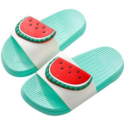QZBAOSHU Niño Niña Playa Zapatillas Sandalias Mujer Hombre Verano Interior Baño Fruta Zapatillas para Familia(39/40 EU,Verde-Sandía)