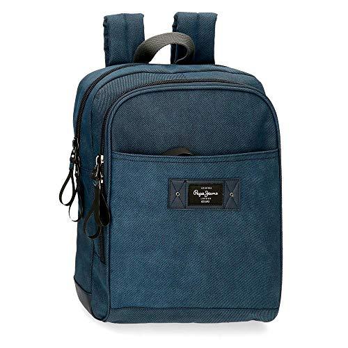 Pepe Jeans Vivac Mochila para Portátil 13  Azul 27X36X12 cms Algodón y PU 11 66L