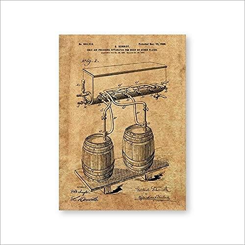 Barril de cerveza Grifo de presión de aire frío Impresiones de patentes Arte de la pared Carteles Decoración de la habitación Plano de la vendimia Lienzo regalo Cuadro de pintura Sin marco-D_50x70cm