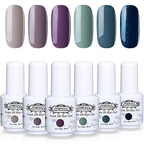 Perfect Summer 6PCS Gel Nail Polish Set Soak Off Lacquer UV LED Varnish Winter Gray Green Color with Gift Box #019