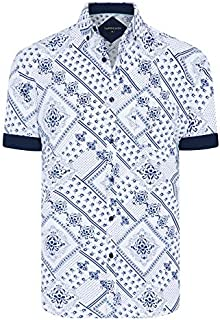 Tarocash Men's Oscar Print Shirt Regular Fit Long Sleeve Sizes XS-5XL for Going Out Smart Occasionwear