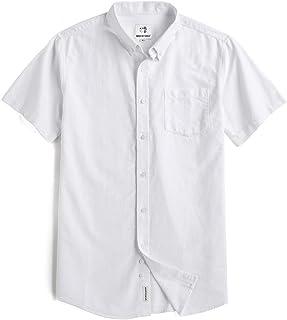 قميص كاجوال رجالي بأكمام قصيرة بأزرار من أكسفورد