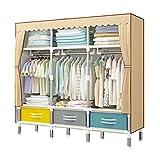 LYLY Armario de estilo nórdico simple tubo de acero tubo de acero, armario portátil, dormitorio y dormitorio ahorra espacio, armario de almacenamiento (color: marrón)