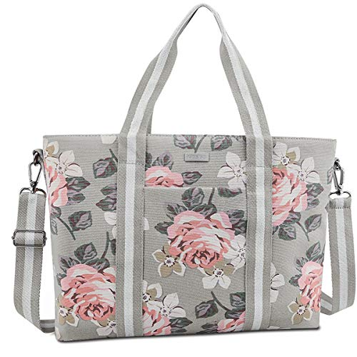 MOSISO Laptop Tote Bag for Women (Up to 17.3 inch), Canvas Multifunctional Work Travel Shopping Duffel Carrying Shoulder Handbag Compatible with MacBook, Notebook and Chromebook, Gray Base Rose