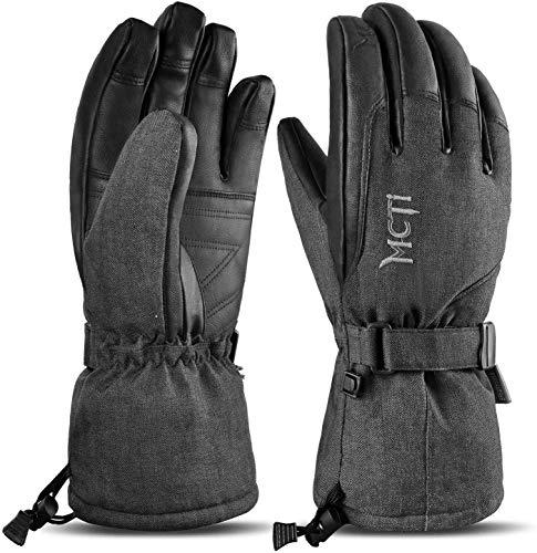 MCTi Skihandschuhe Wasserdicht Winter Snowboard Handschuhe Warm Thinsulate PU Leder Kaltwetterhandschuhe für Herren Damen