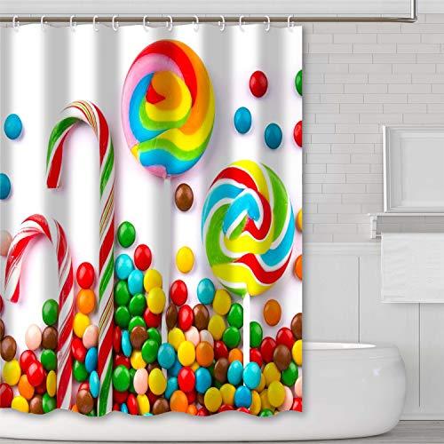 JOYPLUS Buntes Candy Duschvorhang Yummy Candy Ocean Bunt süßer Lollipop Candy Stoff Duschvorhang Candy Clouds Kinderzimmer Design für Kinder – Standardgröße 178 x 178 cm