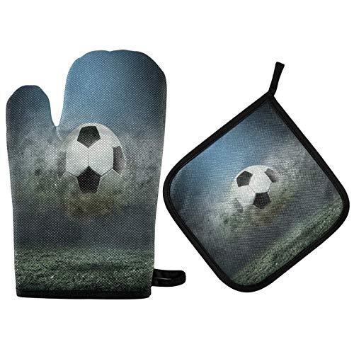 Soccer Ball Splash Drops Ofenhandschuhe Topflappen Stadium Field Extrem hitzebeständige weiche Ofenhandschuhe und Topflappen-Ofenhandschuhe für die Küche zu Hause