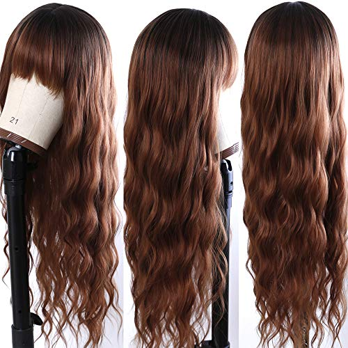 Fureya Synthetic Wig with Bangs Ombre Hair Cosplay Wigs for Women Natural Curly Wave Heat Resistant Full Wigs for Daily Party 24-26 inch