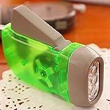 Linterna de mano con dinamo, funciona sin batería, 3 ledes, linterna de emergencia recargable, para deportes al aire libre, camping, verde