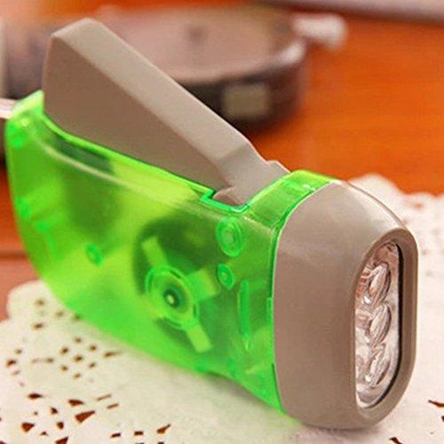 Linterna de mano con manivela de viento, sin batería, linterna de 3 ledes, para camping, supervivencia, camping, emergencia, verde