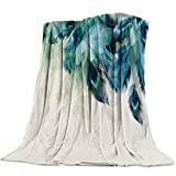 Throws Super Soft Cozy Flannel Fleece Blanket Peacock Feather Teal Blue Turquoise Floral Green Leaf Microfiber Bed Blankets for Sofa Couch All Seasons Use,39x49 inch
