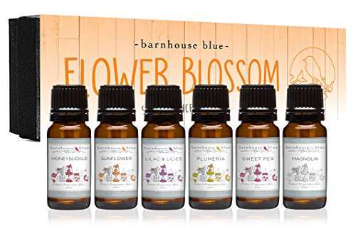 Flower Blossom Premium Grade Fragrance Oil - Gift Set 6/10ml Bottles - Honeysuckle, Lilac & Lilies, Sweet Pea, Plumeria, Magnolia, Sunflower