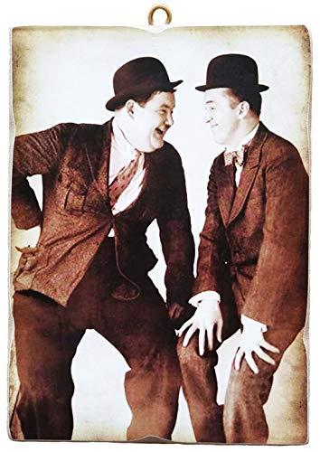 KUSTOM ART Quadro Quadretto Stile Vintage Stanlio & Ollio (Stan Laurel Oliver Hardy) da Collezione Stampa su Legno. Made in Italy