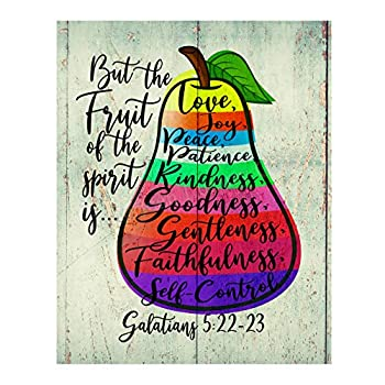 But the Fruit of the Spirit Is Love-Joy-Peace -Bible Verse Wall Art -11 x 14  Scripture Wall Print-Ready to Frame Inspirational Home-Office-Church Decor Perfect Religious Gift! Galatians 5 22-23.