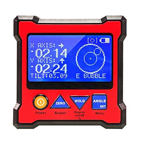 Digital Angle Finder Gauge Magnetischer Winkelmesser, Winkelmesser-Neigungsmesser 80Mm Hochpräzise Zweiachsige Digitalanzeige Mit Magnet Design (Rot)