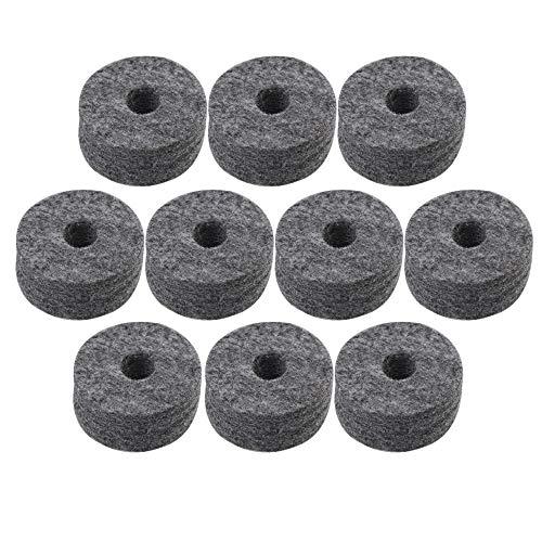RDEXP 4 cm Durchmesser, 1,5 cm Dicke, schwarze, runde weiche Filz-Unterlegscheiben, Beckenständer, Ersatzteile für Schlagzeug-Set, 10 Stück