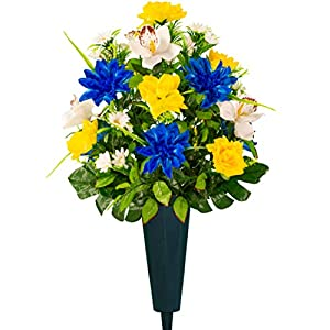 Sympathy Silks Artificial Cemetery Flowers – Realistic Vibrant Roses, Outdoor Grave Decorations – Non-Bleed Colors, and Easy Fit – 1 Blue Dahlia and White Orchid Bouquet with 1 vase