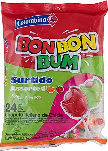Bon Bon Bum - Caramelos Duros- Chupetines Rellenos de Goma de Mascar - Sabores Surtidos - Producto Colombiano - 408 Gramos