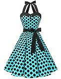 Aupuls AUP1957 Vestido Mujer Sin Manga Retro Vintage 50s 60s Para Ocación Formal y Causal Azul Negro Puntos XXL