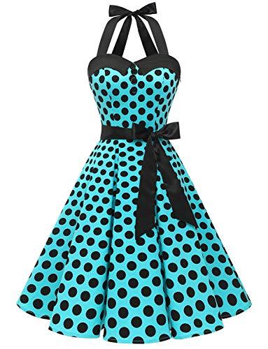 Dressystar, abito vintage a pois, stile rockabilly, anni '50, anni '60, con allacciatura al collo B-blu bianco a pois. XXL